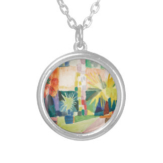 August Macke - Garden on Lake Thun Silver Plated Necklace