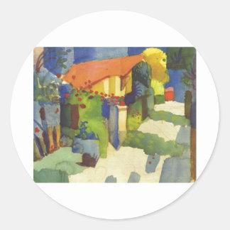 August Macke - House in Garden 1914 Waterolor Round Sticker