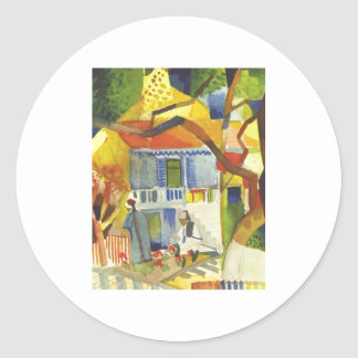 August Macke - Inner Court of Country House 1914 Round Sticker