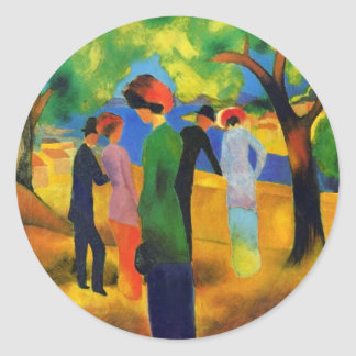 August Macke - Lady in a Green Jacket Round Sticker