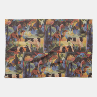 August Macke Landscape with Cows and Camel Kitchen Towel