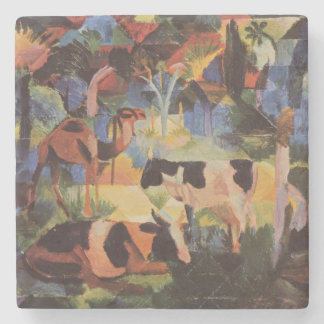 August Macke Landscape with Cows and Camel Stone Coaster