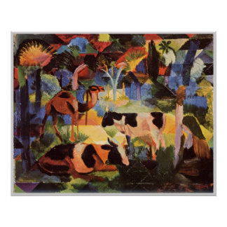 August Macke Landscape with Cows and Camels 1914 Print