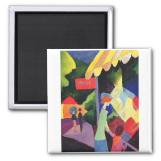 August Macke -  Modefenster 1913 watercolor Square Magnet