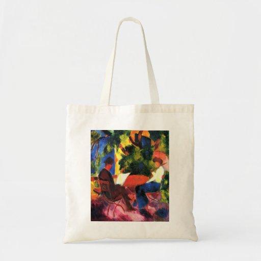 August_Macke - Paar am Gartentisch 1914 Oil Canvas Tote Bags