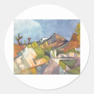 August Macke - Rocky Landscape 1914 Watercolor Round Stickers
