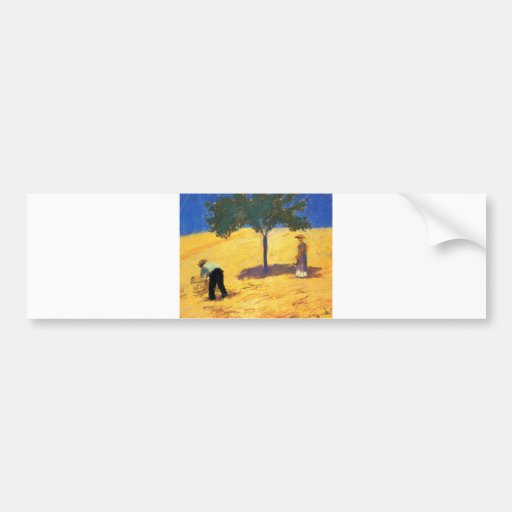 August_Macke Tree in Cornfield 1907 Oil and Pencil Bumper Sticker