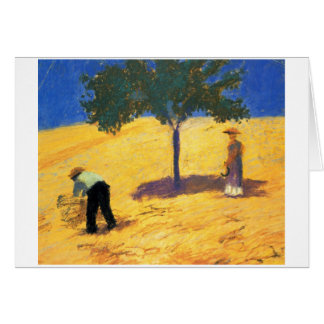 August_Macke Tree in Cornfield 1907 Oil and Pencil Greeting Card