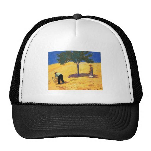 August_Macke Tree in Cornfield 1907 Oil and Pencil Hats