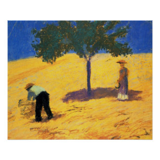 August_Macke Tree in Cornfield 1907 Oil and Pencil Posters