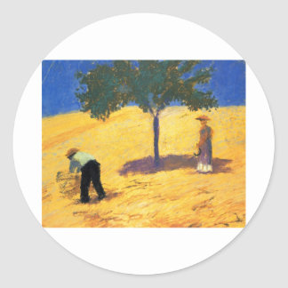 August_Macke Tree in Cornfield 1907 Oil and Pencil Round Sticker