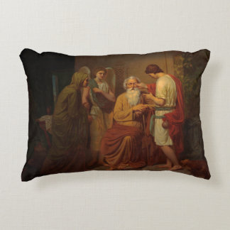 August Malmstrom - Tobias healing his blind father Accent Pillow