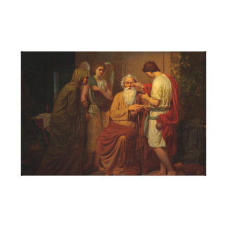 August Malmstrom - Tobias healing his blind father Canvas Print