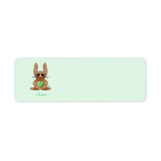 August Rabbit Birthstone Peridot Return Address Labels