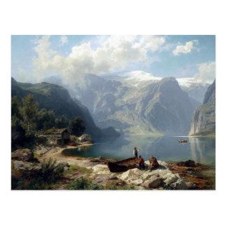 August Wilhelm Leu Sunny Day at a Norwegian Fjord Postcard