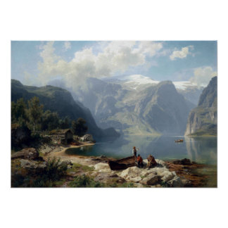 August Wilhelm Leu Sunny Day at a Norwegian Fjord Poster