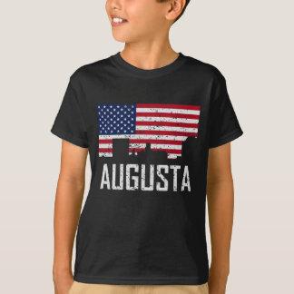 Augusta Georgia Skyline American Flag Distressed T-Shirt