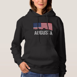 Augusta Maine Skyline American Flag Hoodie