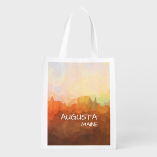 Augusta Maine Skyline IN CLOUDS Reusable Grocery Bag