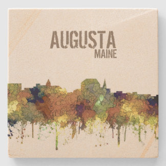 Augusta Maine Skyline SG-Safari Buff Stone Coaster