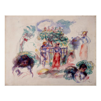 Auguste Renoir Figures under a Tree Poster
