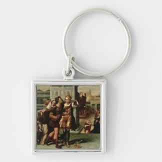 Augustus  and the Tiburtine Sibyl, c.1540-50 Silver-Colored Square Keychain
