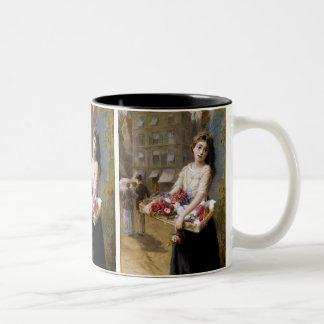 Augustus Edwin Mulready: A Street Flower Seller Two-Tone Coffee Mug