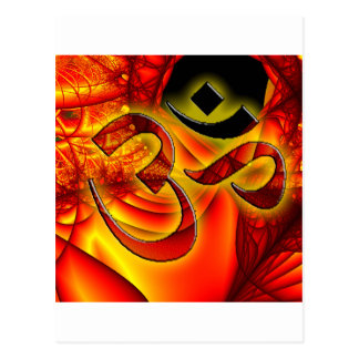 Aum om on Fractal red and yellow Postcard
