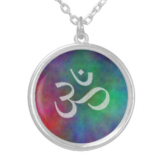 Aum OM Symbol Silver Plated Necklace