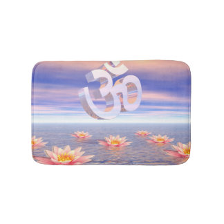 Aum - om upon waterlilies - 3D render Bath Mat