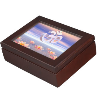 Aum - om upon waterlilies - 3D render Keepsake Box
