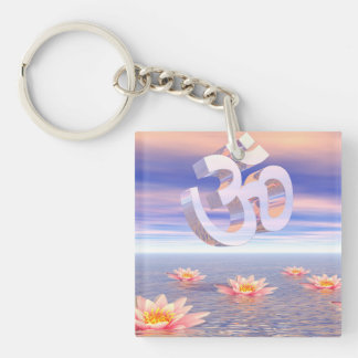 Aum - om upon waterlilies - 3D render Keychain