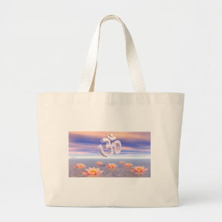 Aum - om upon waterlilies - 3D render Large Tote Bag
