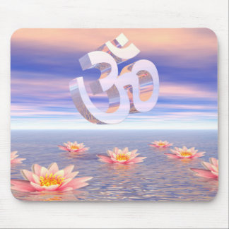 Aum - om upon waterlilies - 3D render Mouse Pad