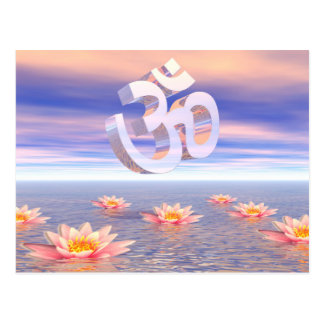 Aum - om upon waterlilies - 3D render Postcard