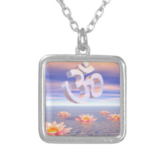 Aum - om upon waterlilies - 3D render Silver Plated Necklace