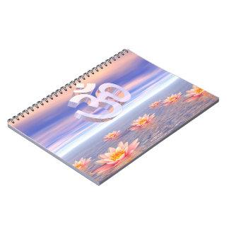 Aum - om upon waterlilies - 3D render Spiral Notebook