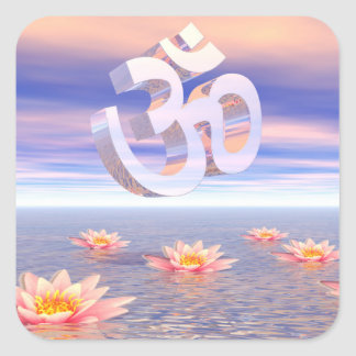 Aum - om upon waterlilies - 3D render Square Sticker