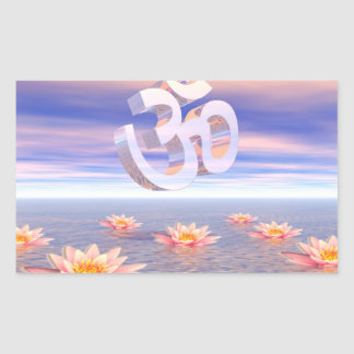 Aum - om upon waterlilies - 3D render Sticker