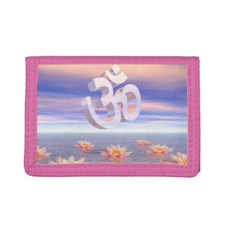 Aum - om upon waterlilies - 3D render Trifold Wallets