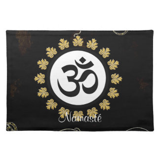 Aum Symbol Mantra Meditation Black and Gold Placemats