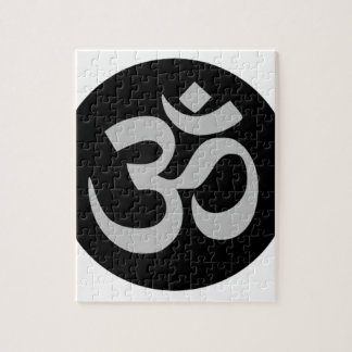 Aum Symbol, Silver and Black Jigsaw Puzzle