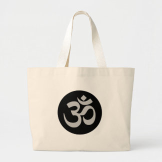 Aum Symbol, Silver and Black Large Tote Bag