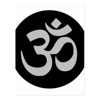 Aum Symbol, Silver and Black Postcard