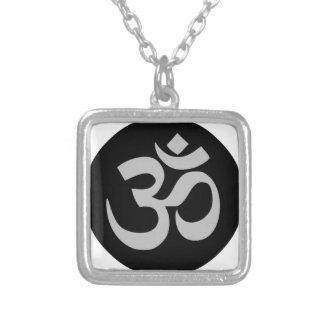 Aum Symbol, Silver and Black Silver Plated Necklace