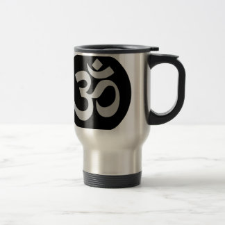 Aum Symbol, Silver and Black Travel Mug
