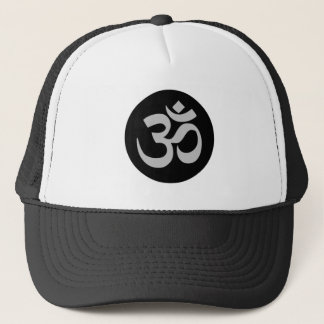 Aum Symbol, Silver and Black Trucker Hat