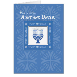 Aunt and Uncle Hanukkah Wishes Blue Menorah Card