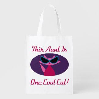 Aunt Cool Cat Reusable Grocery Bag