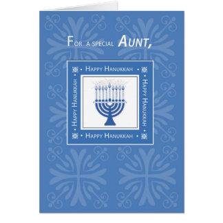 Aunt Hanukkah Wishes Blue Menorah Card